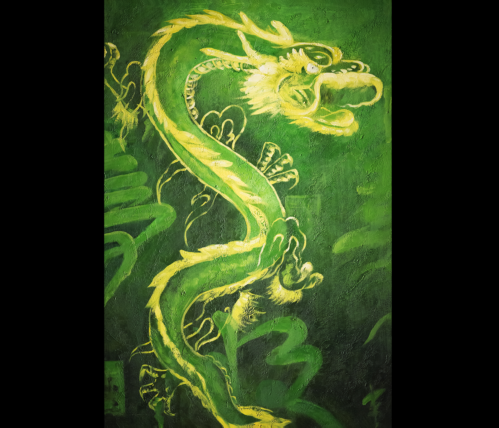 Feng shui dragon painting modern wall art decor for Modern feng shui