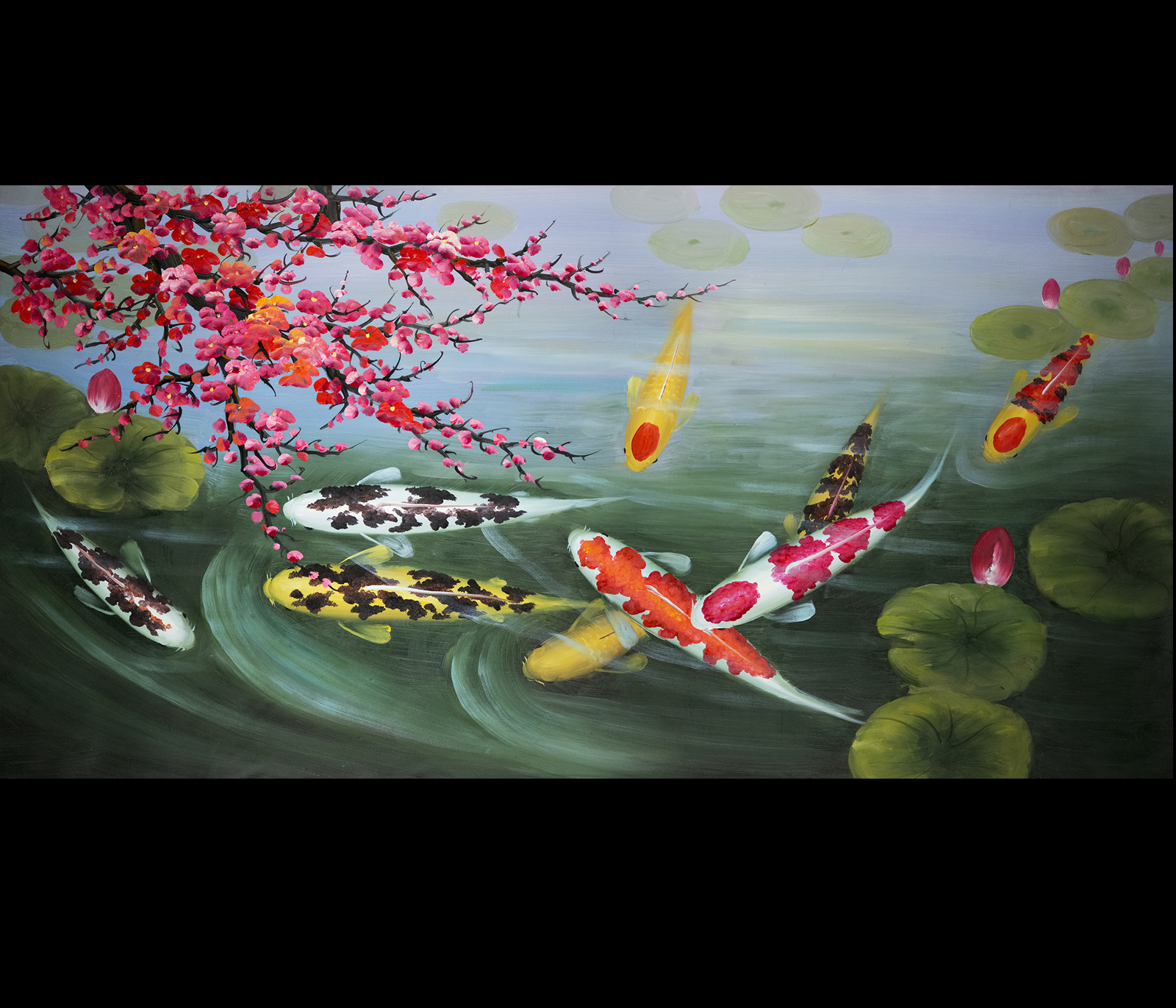 Wall art painting stretched canvas print koi fish wall art for Koi canvas print