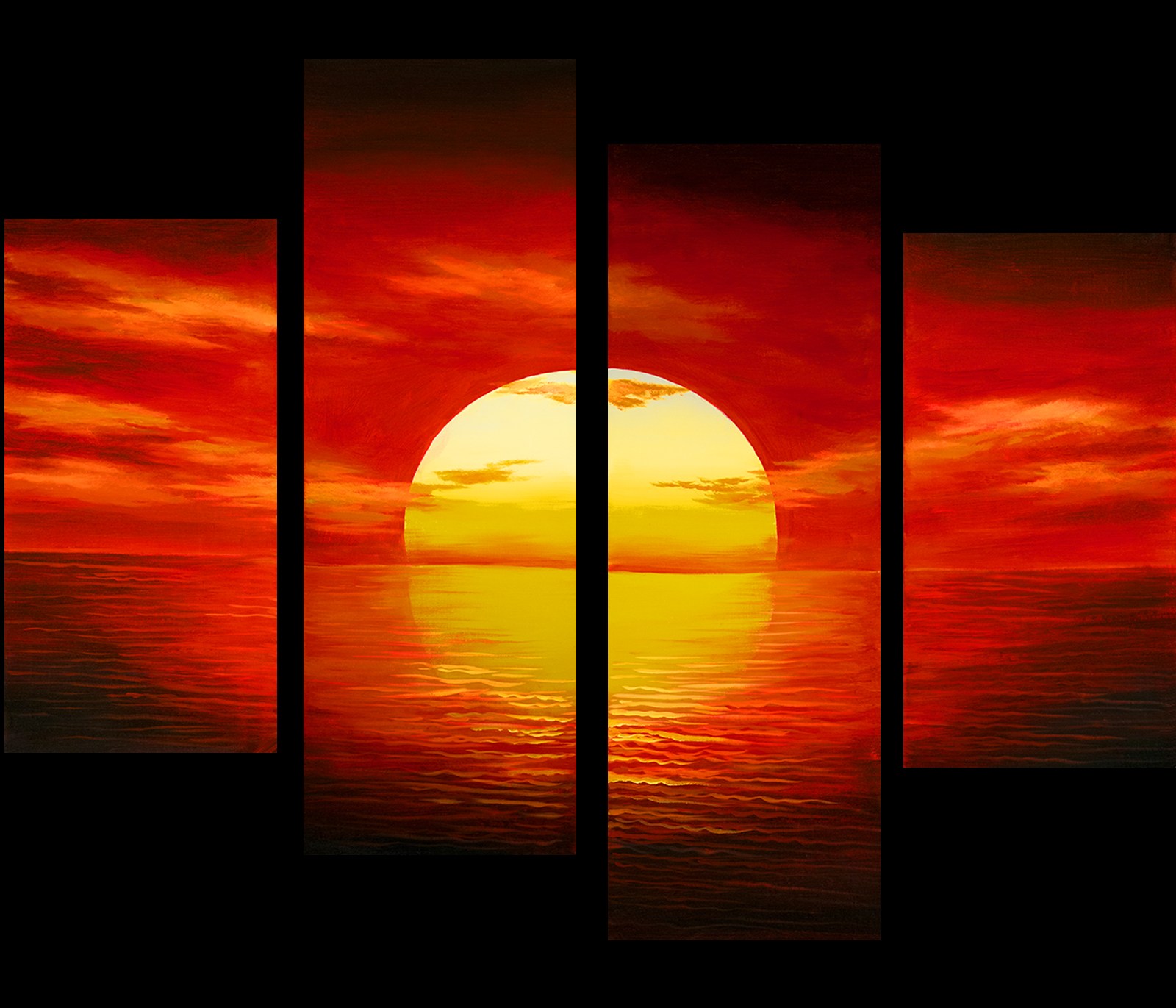 Sunset painting canvas prints contemporary art modern wall for Modern art prints posters